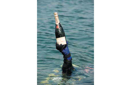 Diver with Champagne Bottle