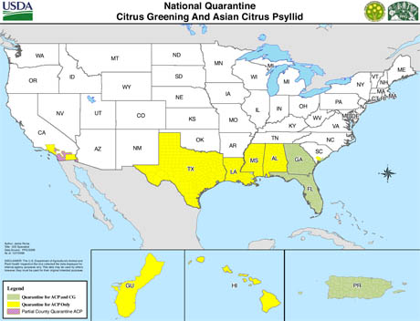nationalquarantinemap citrus greening and asian psyllid