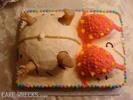 IMAGE: A baby shower cake wreck .