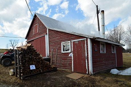 16 Soukup sugar shack and woodpile 460